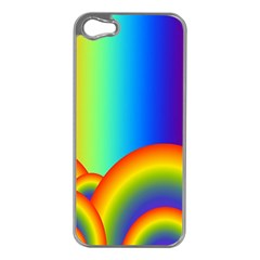Background Rainbow Apple iPhone 5 Case (Silver)