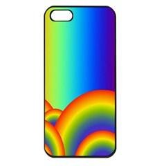 Background Rainbow Apple Iphone 5 Seamless Case (black)