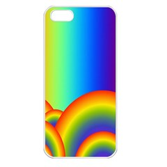 Background Rainbow Apple iPhone 5 Seamless Case (White)