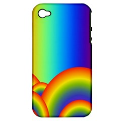 Background Rainbow Apple iPhone 4/4S Hardshell Case (PC+Silicone)