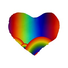 Background Rainbow Standard 16  Premium Heart Shape Cushions