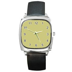 Fern Green in an English Country Garden Square Metal Watch