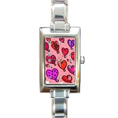 Valentine Wallpaper Whimsical Cartoon Pink Love Heart Wallpaper Design Rectangle Italian Charm Watch