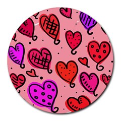 Valentine Wallpaper Whimsical Cartoon Pink Love Heart Wallpaper Design Round Mousepads