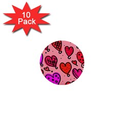 Valentine Wallpaper Whimsical Cartoon Pink Love Heart Wallpaper Design 1  Mini Buttons (10 pack)