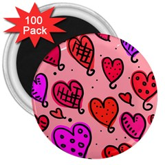 Valentine Wallpaper Whimsical Cartoon Pink Love Heart Wallpaper Design 3  Magnets (100 pack)