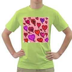 Valentine Wallpaper Whimsical Cartoon Pink Love Heart Wallpaper Design Green T Shirt