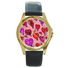 Valentine Wallpaper Whimsical Cartoon Pink Love Heart Wallpaper Design Round Gold Metal Watch