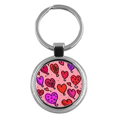 Valentine Wallpaper Whimsical Cartoon Pink Love Heart Wallpaper Design Key Chains (round)