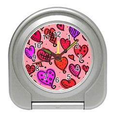 Valentine Wallpaper Whimsical Cartoon Pink Love Heart Wallpaper Design Travel Alarm Clocks