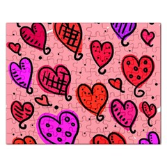 Valentine Wallpaper Whimsical Cartoon Pink Love Heart Wallpaper Design Rectangular Jigsaw Puzzl