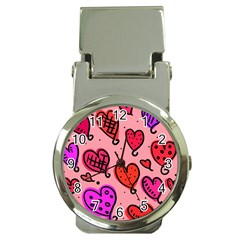 Valentine Wallpaper Whimsical Cartoon Pink Love Heart Wallpaper Design Money Clip Watches