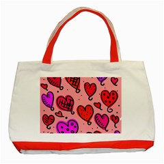 Valentine Wallpaper Whimsical Cartoon Pink Love Heart Wallpaper Design Classic Tote Bag (red)