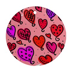 Valentine Wallpaper Whimsical Cartoon Pink Love Heart Wallpaper Design Round Ornament (two Sides)