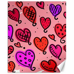 Valentine Wallpaper Whimsical Cartoon Pink Love Heart Wallpaper Design Canvas 16  X 20