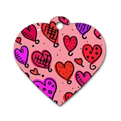 Valentine Wallpaper Whimsical Cartoon Pink Love Heart Wallpaper Design Dog Tag Heart (Two Sides)