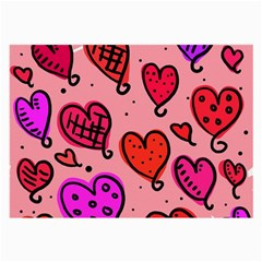 Valentine Wallpaper Whimsical Cartoon Pink Love Heart Wallpaper Design Large Glasses Cloth (2-Side)