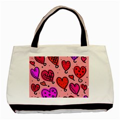 Valentine Wallpaper Whimsical Cartoon Pink Love Heart Wallpaper Design Basic Tote Bag (Two Sides)