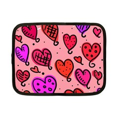 Valentine Wallpaper Whimsical Cartoon Pink Love Heart Wallpaper Design Netbook Case (small)