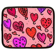 Valentine Wallpaper Whimsical Cartoon Pink Love Heart Wallpaper Design Netbook Case (large)