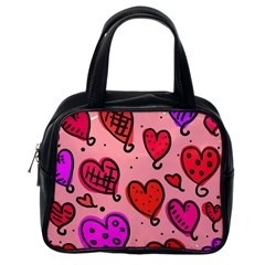 Valentine Wallpaper Whimsical Cartoon Pink Love Heart Wallpaper Design Classic Handbags (one Side)