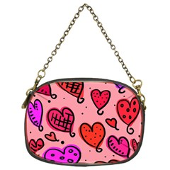 Valentine Wallpaper Whimsical Cartoon Pink Love Heart Wallpaper Design Chain Purses (Two Sides)