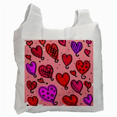 Valentine Wallpaper Whimsical Cartoon Pink Love Heart Wallpaper Design Recycle Bag (one Side)