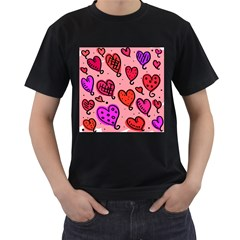 Valentine Wallpaper Whimsical Cartoon Pink Love Heart Wallpaper Design Men s T-Shirt (Black)