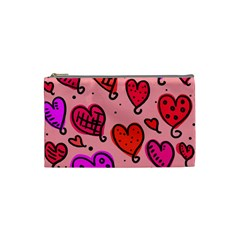 Valentine Wallpaper Whimsical Cartoon Pink Love Heart Wallpaper Design Cosmetic Bag (Small)