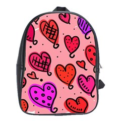 Valentine Wallpaper Whimsical Cartoon Pink Love Heart Wallpaper Design School Bags(Large)
