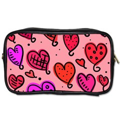 Valentine Wallpaper Whimsical Cartoon Pink Love Heart Wallpaper Design Toiletries Bags 2 Side