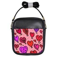 Valentine Wallpaper Whimsical Cartoon Pink Love Heart Wallpaper Design Girls Sling Bags