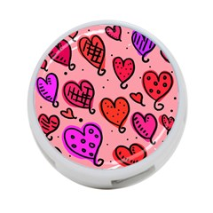 Valentine Wallpaper Whimsical Cartoon Pink Love Heart Wallpaper Design 4-Port USB Hub (Two Sides)
