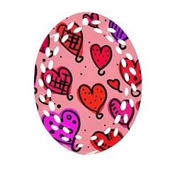 Valentine Wallpaper Whimsical Cartoon Pink Love Heart Wallpaper Design Oval Filigree Ornament (Two Sides)