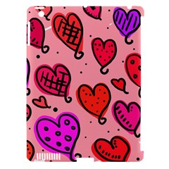 Valentine Wallpaper Whimsical Cartoon Pink Love Heart Wallpaper Design Apple Ipad 3/4 Hardshell Case (compatible With Smart Cover)