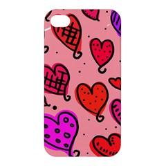 Valentine Wallpaper Whimsical Cartoon Pink Love Heart Wallpaper Design Apple Iphone 4/4s Premium Hardshell Case