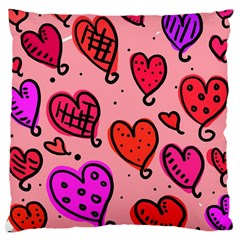Valentine Wallpaper Whimsical Cartoon Pink Love Heart Wallpaper Design Large Cushion Case (two Sides)