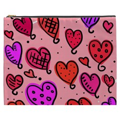 Valentine Wallpaper Whimsical Cartoon Pink Love Heart Wallpaper Design Cosmetic Bag (XXXL)