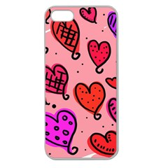 Valentine Wallpaper Whimsical Cartoon Pink Love Heart Wallpaper Design Apple Seamless iPhone 5 Case (Clear)