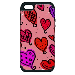 Valentine Wallpaper Whimsical Cartoon Pink Love Heart Wallpaper Design Apple iPhone 5 Hardshell Case (PC+Silicone)