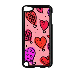 Valentine Wallpaper Whimsical Cartoon Pink Love Heart Wallpaper Design Apple iPod Touch 5 Case (Black)