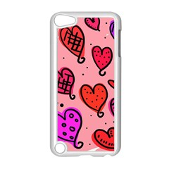 Valentine Wallpaper Whimsical Cartoon Pink Love Heart Wallpaper Design Apple Ipod Touch 5 Case (white)