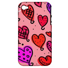 Valentine Wallpaper Whimsical Cartoon Pink Love Heart Wallpaper Design Apple iPhone 4/4S Hardshell Case (PC+Silicone)