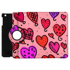 Valentine Wallpaper Whimsical Cartoon Pink Love Heart Wallpaper Design Apple Ipad Mini Flip 360 Case