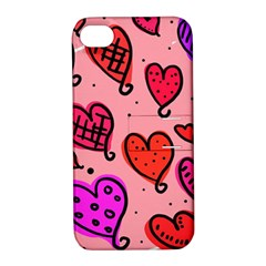 Valentine Wallpaper Whimsical Cartoon Pink Love Heart Wallpaper Design Apple Iphone 4/4s Hardshell Case With Stand