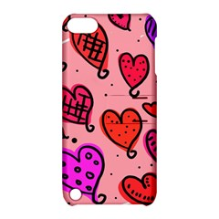 Valentine Wallpaper Whimsical Cartoon Pink Love Heart Wallpaper Design Apple Ipod Touch 5 Hardshell Case With Stand