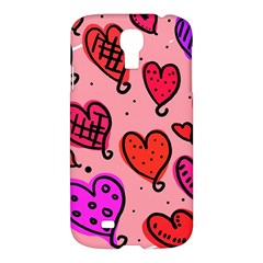 Valentine Wallpaper Whimsical Cartoon Pink Love Heart Wallpaper Design Samsung Galaxy S4 I9500/i9505 Hardshell Case