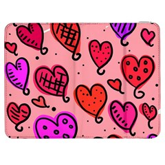Valentine Wallpaper Whimsical Cartoon Pink Love Heart Wallpaper Design Samsung Galaxy Tab 7  P1000 Flip Case