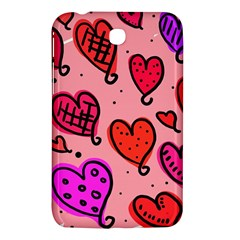 Valentine Wallpaper Whimsical Cartoon Pink Love Heart Wallpaper Design Samsung Galaxy Tab 3 (7 ) P3200 Hardshell Case