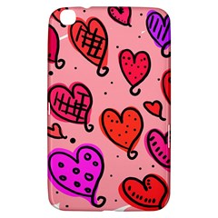 Valentine Wallpaper Whimsical Cartoon Pink Love Heart Wallpaper Design Samsung Galaxy Tab 3 (8 ) T3100 Hardshell Case